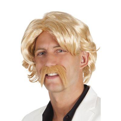 Pruik Chuck blond met snor