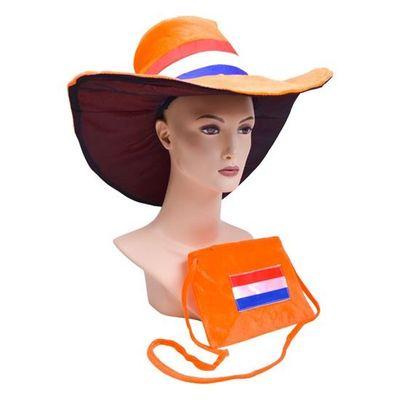 Oranje hoed met tas