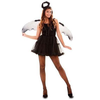Zwart engel kostuum