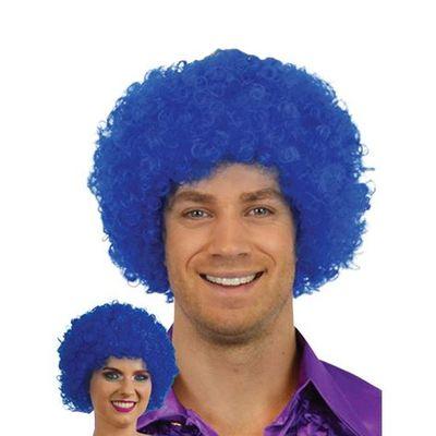 Afro pruik mini blauw