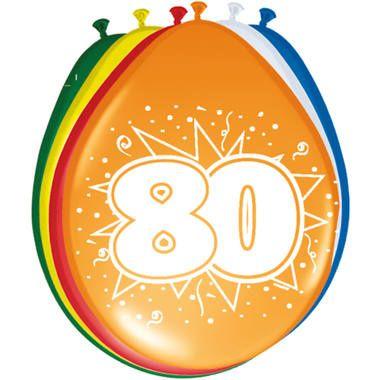 Foto van Leeftijd ballonnen 80 jaar 8 stuks