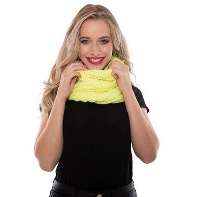 Gebreide sjaal fluor geel