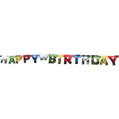 Foto van Letterslinger Staniol Happy Birthday holografisch