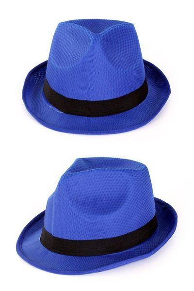 Blauwe hoed met zwarte band