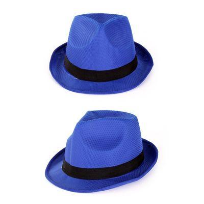 Foto van Blauwe hoed met zwarte band