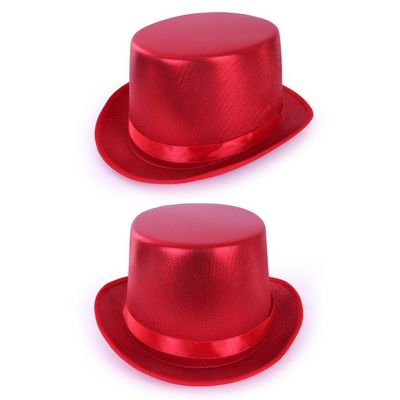Hoge hoed metallic Rood
