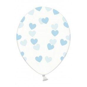 Foto van Ballonnen doorzichtig met hartjes licht blauw