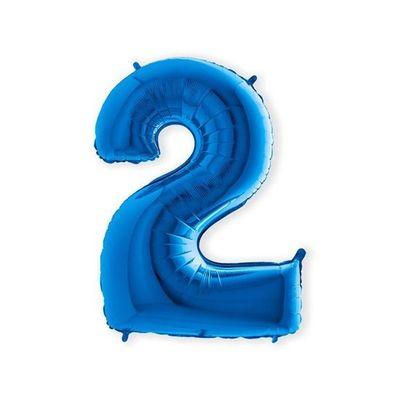 Foto van Folieballon cijfer 2 blauw XL (100cm)