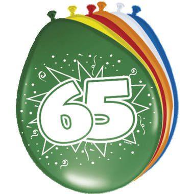 Foto van Leeftijd ballonnen 65 jaar 8 stuks