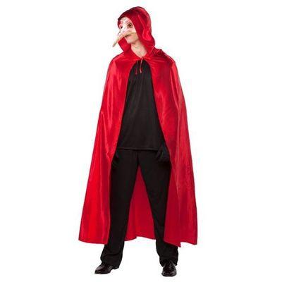 Lange cape met capuchon - Rood