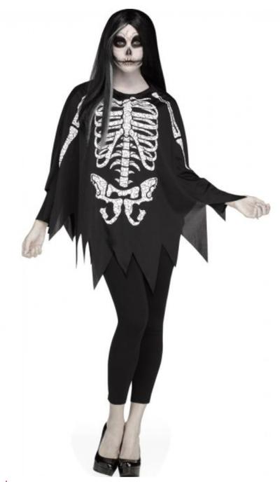 Halloween poncho skelet