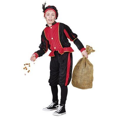 Foto van Piet kostuum rood/zwart unisex kinderen