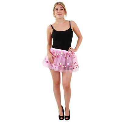 Foto van Tule rokje roze met dots dames one size