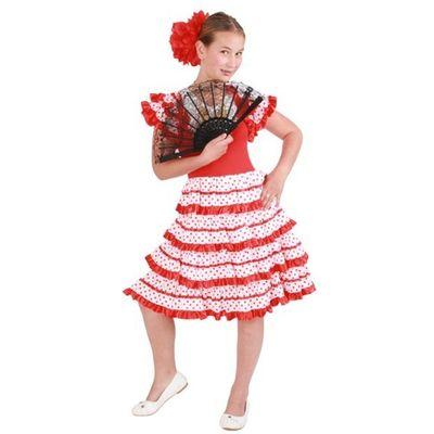 Spaanse jurk andalusie rood/wit meisjes