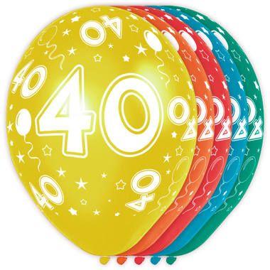 Foto van Leeftijd ballonnen 40 jaar 5 stuks