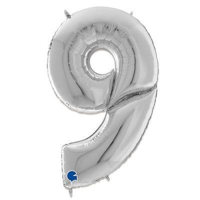 Foto van Folieballon cijfer 9 zilver XXL (163cm)