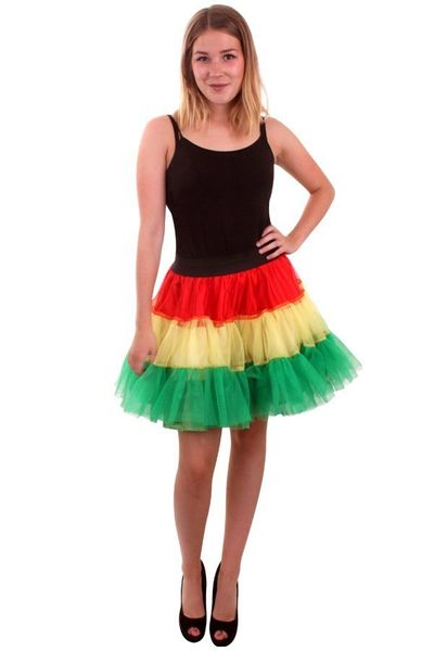 Petticoat rood/geel/groen 3-laags dames one size