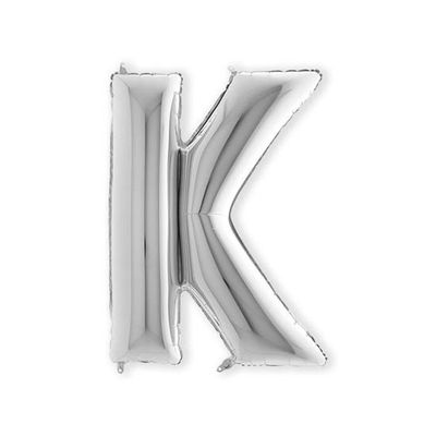 Foto van Folieballon letter K zilver XL (100cm)
