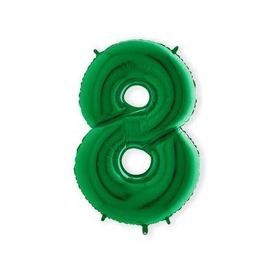 Foto van Folieballon cijfer 8 groen XL (100cm)