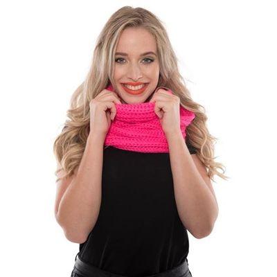 Gebreide sjaal fluor roze