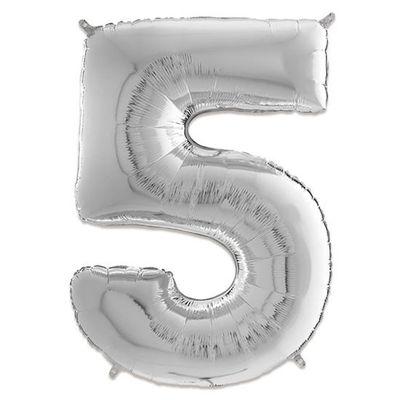 Folieballon cijfer 5 zilver (66cm)