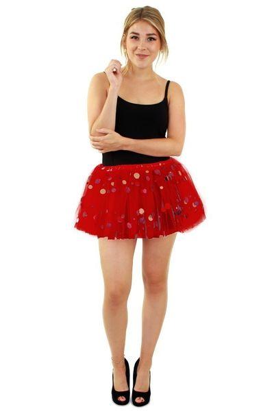 Tule rokje rood met dots dames one size
