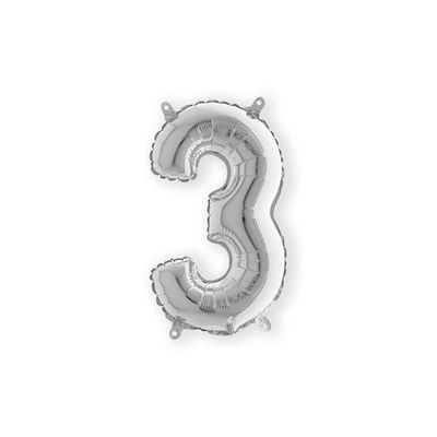 Folieballon cijfer 3 zilver klein (35cm)
