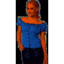 Oktoberfest blouse dames blauw