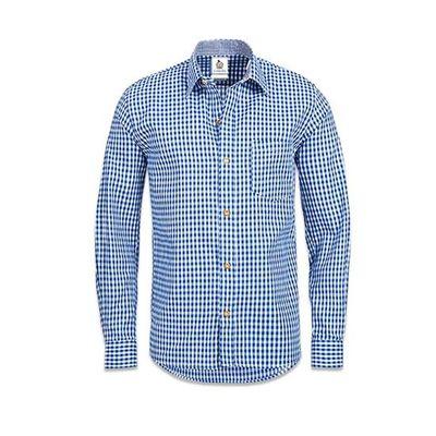Blauw wit geblokt overhemd