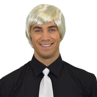 Herenpruik steil wit blond