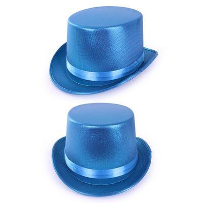 Foto van Hoge hoed metallic Blauw