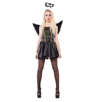 Zwarte engel kostuum