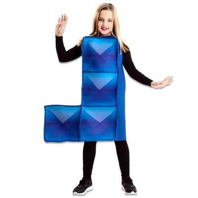 Tetris kostuum blauw kind