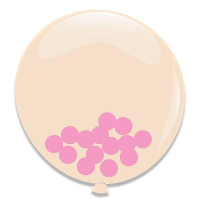 Ballonnen Roze Confetti 3st 60cm
