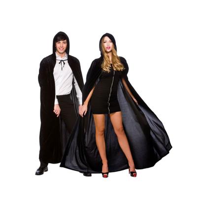 Foto van Zwarte fluwelen cape one size