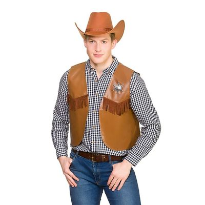 Foto van Cowboy gilet bruin met ster