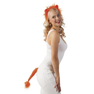 Foto van Set Leeuw oranje (tiara en staart)