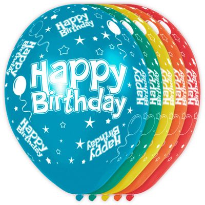 Foto van Happy Birthday ballon (30cm) 5st.
