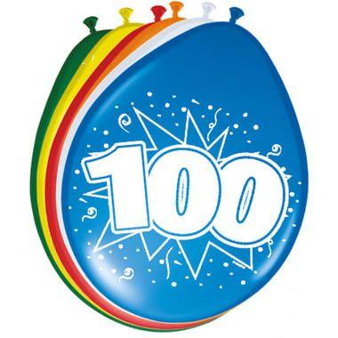 Leeftijd ballonnen 100 jaar 8 stuks