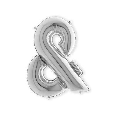 Foto van Folieballon & en-teken zilver XL (100cm)