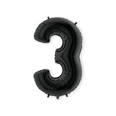 Folieballon cijfer 3 zwart XL (100cm)