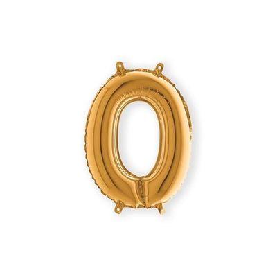Folieballon cijfer 0 goud klein (35cm)