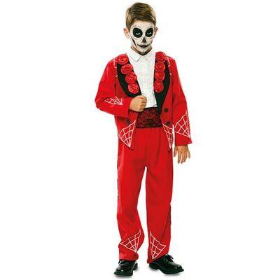 Foto van Day of the Dead Kostuum rood - kind