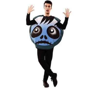 Emoticon kostuum zombie blauw