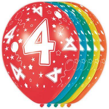 Foto van Leeftijd ballonnen 4 jaar 5 stuks