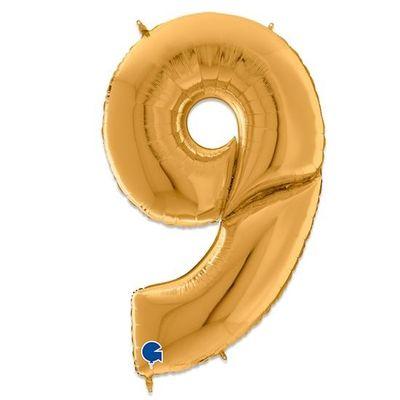 Foto van Folieballon cijfer 9 goud XXL (163cm)