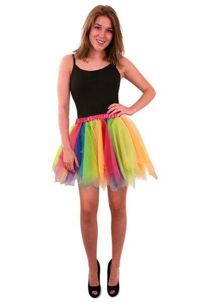 Tule rok regenboog dames one size