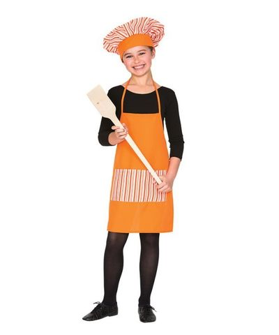 Oranje koksmuts + schort