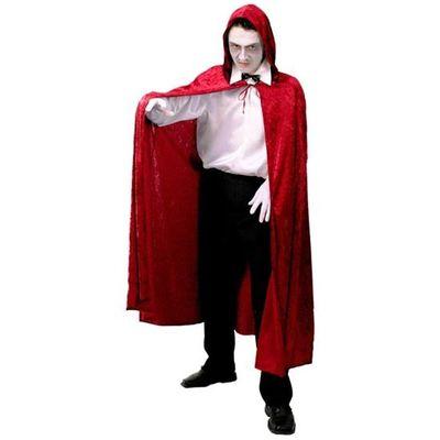 Lange cape met capuchon - Rood velours