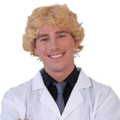 Herenpruik gekruld blond